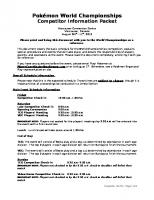 2013 World Championships Competitor Info Packet (Initial Draft)