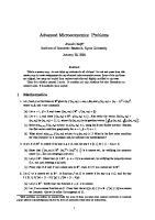 Advanced Microeconomics Problems