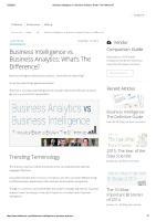 Business Intelligence vs Business Analytics