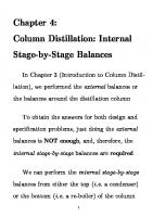 Column Distillation: Internal Stage-by-Stage Balances