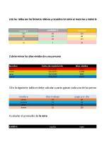 cree las tablas con los formatos rellenos y recuadros tal como se muestran y realice los ejercicios propuestos
