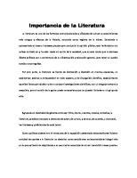Importancia de la Literatura