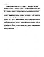 Independencia de Colombia Resumen
