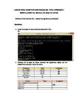 Utilizando instrucciones SQL, realizar las siguientes actividades
